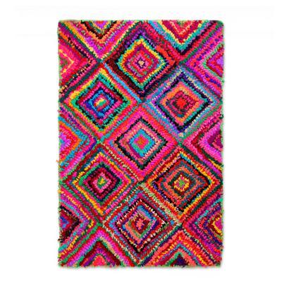 Recycled fabric Chindi rug, 'Vibrant Diamonds' - Artisan Made Colorful Indian Recycled Fabric Chindi Area Rug