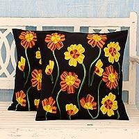 Cotton cushion covers, 'Midnight Marigolds' (pair) - 2 Black Cotton Floral Cushion Covers Chainstitch Embroidery
