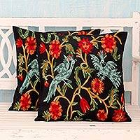 Cotton cushion covers, 'Blue Cockatoos' (pair) - 2 Black Cotton Chainstitch Embroidery Floral Cushion Covers
