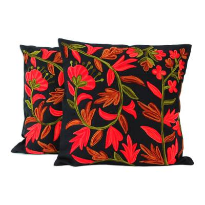 Cotton cushion covers, 'Poppies at Midnight' (pair) - 2 Chainstitch Embroidery Black Cotton Floral Cushion Covers