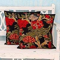 Cotton cushion covers, 'Midnight in the Garden' (pair) - Chainstitch Embroidery Black Cotton Cushion Covers (Pair)