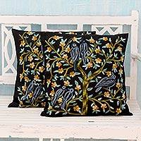 Cotton cushion covers, 'Birds in the Night' (pair) - 2 Indian Aari Embroidered Black Cotton Cushion Covers