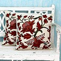 Cotton cushion covers, 'Marsala Garden' (pair) - Two Ivory Cotton Cushion Covers with Chainstitch Embroidery