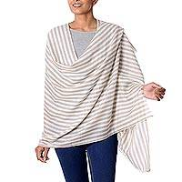 Wool shawl, 'Subtle Warmth' - Taupe and Ivory Striped Wool Shawl from India