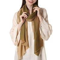 Woven wool shawl, 'Delightful Sophistication' - 100% Wool Lightweight Shawl in Olive Green and Beige