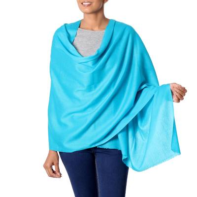 Wool shawl, 'Sea Glamour' - 100% Wool Turquoise Shawl with Soft Lightweight Fabric