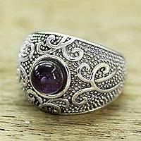 Amethyst domed ring, 'Violet Flourish' - Women's Sterling Silver Domed Ring with a Cabochon Amethyst