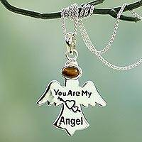Tiger's eye pendant necklace, 'My Angel' - Sterling Silver Angel Message Necklace with Tiger's Eye