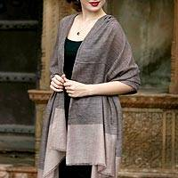100% cashmere shawl, 'Mountain Breeze' - Hand Woven Indian 100% Cashmere Pashmina Wool Shawl