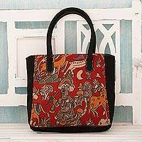 Cotton tote bag, 'Hunting Expedition' - Indian Hunting Scene Block Printed on Cotton Tote Bag