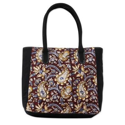 Hand Printed Paisleys over Maroon and Black Cotton Tote Bag
