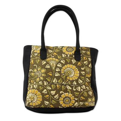 Novica Cotton tote bag, Native Geometry