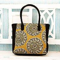 Cotton tote bag, 'Blossoming Mandalas' - Floral Mandalas Block Print Cotton Tote Bag from India