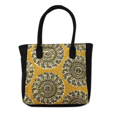 Floral Mandalas Block Print Cotton Tote Bag from India