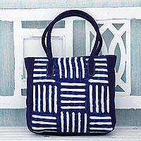 Cotton tote bag, 'Blue Directions' - Indigo Blue Cotton Indian Tote Bag with Three Pockets