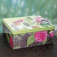 Decoupage tea box, 'Majestic Blossoms' - India Artisan Crafted Decoupage Floral Tea Box Holder
