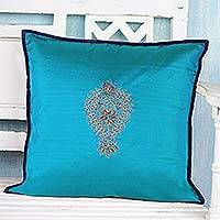 Silk cushion cover, 'Glorious Harmony' - Silk Cushion Cover with Floral Pattern from India