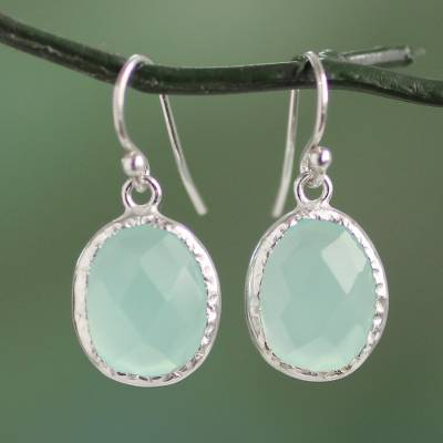 Chalcedony dangle earrings, Pale Aqua Dewdrops