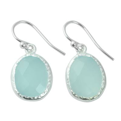 Fair Trade Aqua Chalcedony Dangle Earrings in 925 Silver