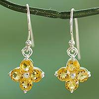 Citrine dangle earrings, 'Petite Petals' - Sterling Silver Handcrafted Flower Earrings with Citrine