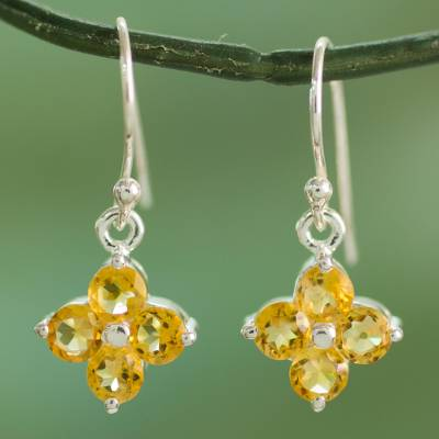 Sterling Silver Dangle Earrings with Citrine