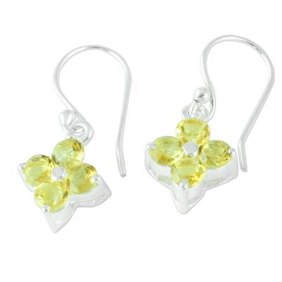 Sterling Silver Handcrafted Flower Earrings with Citrine
