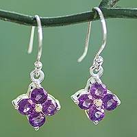 Amethyst dangle earrings, 'Petite Petals' - Floral Amethyst Dangle Earrings Artisan Crafted Jewelry