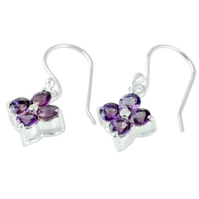 Floral Amethyst Dangle Earrings Artisan Crafted Jewelry