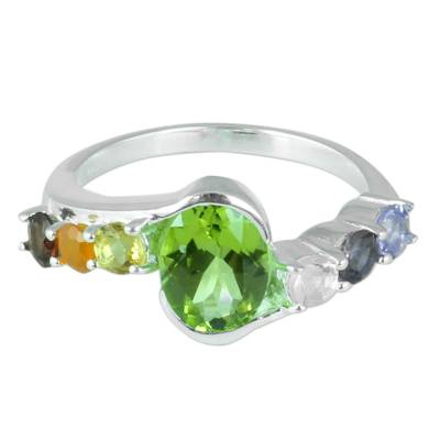 Multi-gemstone cocktail ring, 'Chakra Allure' - Hand Crafted Multi-Gemstone Cocktail Ring from India
