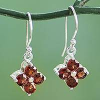 Garnet dangle earrings, 'Petite Petals' - Artisan Crafted Floral Garnet Dangle Hook Earrings