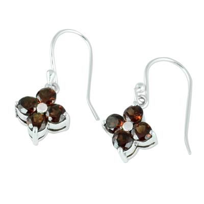 Artisan Crafted Floral Garnet Dangle Hook Earrings