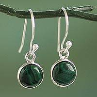Sterling silver and malachite dangle earrings, 'Malachite Spheres'