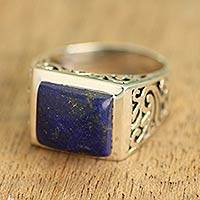 Lapis lazuli single stone ring, 'Gracious Blue' - Sterling Silver Lapis Lazuli Ring with Nature Motif