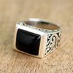 Sterling Silver Black Onyx Ring with Nature Motif, 'Disguise'