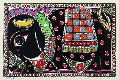 Indian Madhubani Painting of Elephant on Handmade Paper