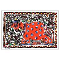Madhubani painting, 'Mother Nurture' - Madhubani Cow and Calf Painting from India