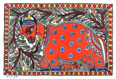 Madhubani Cow and Calf Painting from India