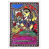 Madhubani painting, 'Goddess of Wealth' - Madhubani Painting of Lakshmi the Goddess of Wealth