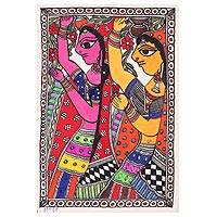 Madhubani painting, 'Maidens Carrying Water' - Indian Madhubani Painting of Radhika Girls on Handmade Paper