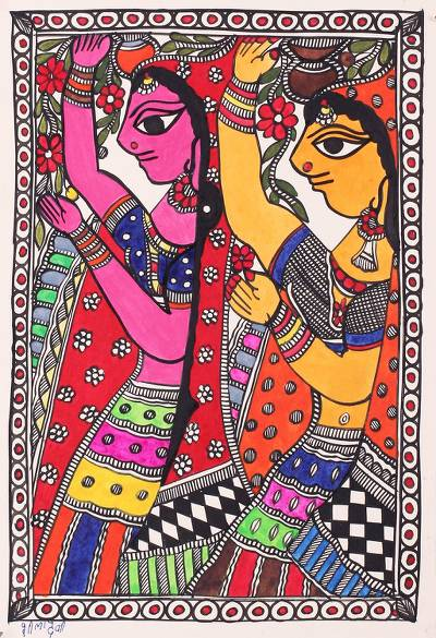 Indian Madhubani Painting of Radhika Girls on Handmade Paper