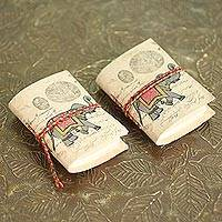 Paper mini-journals, 'Royal Stride' (pair) - 2 Handmade Paper Journals from India with Marching Elephants