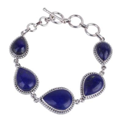 Hand Crafted Lapis Lazuli and Sterling Silver Link Bracelet