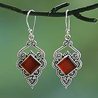 Carnelian dangle earrings, 'Glorious Orange' - Artisan Crafted Carnelian Dangle Earrings from India