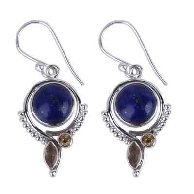 Handmade Lapis Lazuli and Citrine Dangle Earrings from India