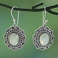 Rainbow moonstone dangle earrings, 'Scintillating Scallops' - Handmade Rainbow Moonstone and Sterling Silver Earrings