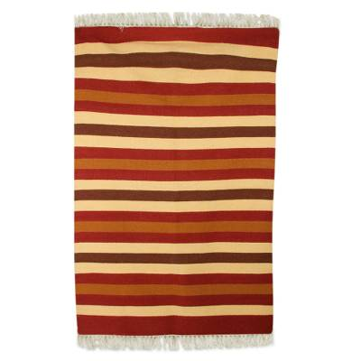 Wool Rug, 'Earthy Path' (4x6) - Indian Hand-Woven Wool 4x6 Area Rug in Earth Toned Stripes