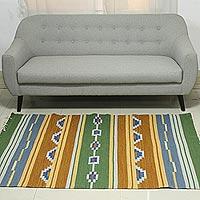Wool dhurrie rug, 'Desert Dunes' (4x6)