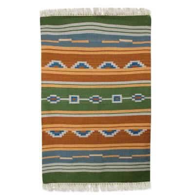 Wool dhurrie rug, 'Desert Dunes' (4x6) - 4 by 6 Handwoven India Dhurrie Rug in Greens and Orange
