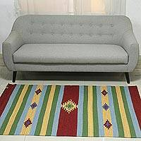 Wool dhurrie rug, 'Festival of Stars' (4x6) - Handwoven India Wool 4 by 6 Striped Dhurrie Rug