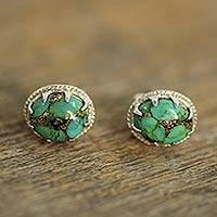 Sterling silver stud earrings, 'Morning in Green' - Green Composite Turquoise Stud Earrings in Sterling Silver